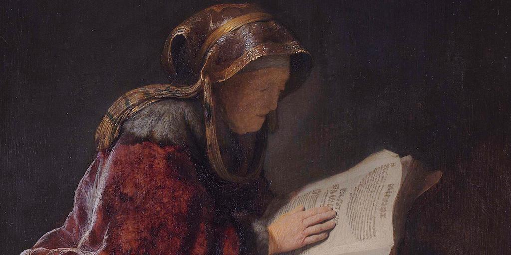 Prophet Anna (probably Rembrandts mother, Neeltgen Willemsdr van Zuydtbroeck (d. 1640)  *oil on panel  *60 x 48 cm  *signed b.l.: RHL 1631